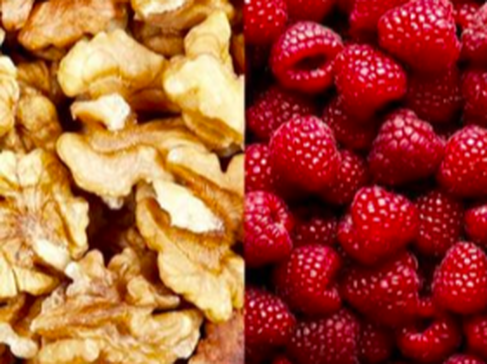 Picture of walnuts and rasberries